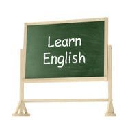 Learn English concept Blackboard chalkboard isolated on white N2