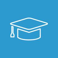education outline icon isolated white on the blue background
