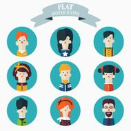 Set of flat people icons Male and female faces avatars N4