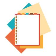 Flat design notepad with paper sheets