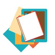 Flat design of notepad paper sheets and tablet
