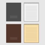 Vector Set of open and closed spiral Notepad