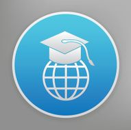 Education icon on blue background clean vector