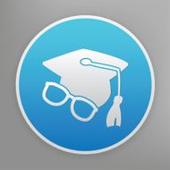Education icon on blue background clean vector N2