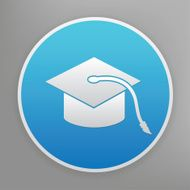 Hat of education icon on blue background clean vector