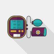 sphygmomanometer blood pressure flat icon with long shadow eps10