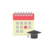 Flat style calendar icon with graduation hat N2