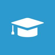 education icon white on the blue background