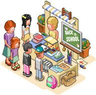 Schoolkids standing at a stationery store with shop assistant