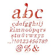 Ketchup alphabet lower case italic
