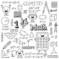 Mathematics Hand drawn Vector illustration Black and White N2