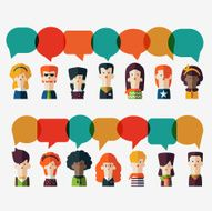 Set of social people icons with colorful dialog speech bubbles