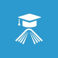 education icon isolated white on the blue background