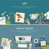art education and graphic design web banner flat