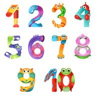 Numbers like robots in fairy style N2