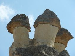 scenic sandstone rocks at sky, turkey, cappadocia