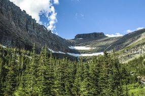 high gray mountain in Glacier National park