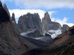 cliff in Torres del Paine, Chile