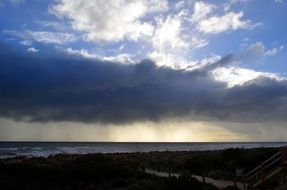 big rain cloud over the ocean