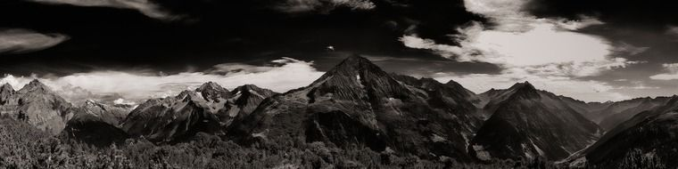 black and white panorama of the swiss alps