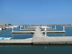 piers for boats on calm water, mexico, veracruz