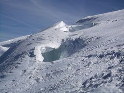 crevasse in glacier at mont blanc, alps