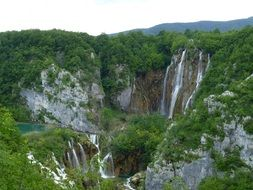 beautiful panorama of natural waterfalls in Croatia