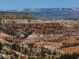 top view on the picturesque landscape of Bryce Canyon