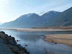 panoramic view of Lake lillooet and mountains in British Columbia