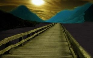 wooden walkway on the lake at night