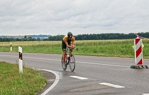 cyclist on the road in Erbach