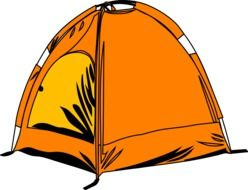 drawing of an orange camping tent
