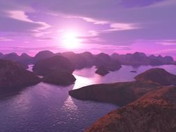 purple sunset over the ocean and mountains