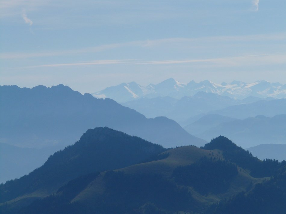 mountain ranges in the blue haze