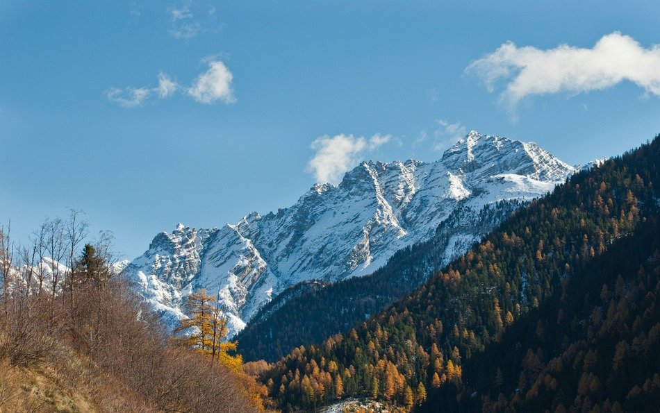 autumn landscape on the background of snow-capped mountains in Switzerland