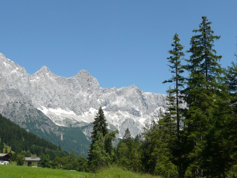 panorama of the picturesque mountains in austria