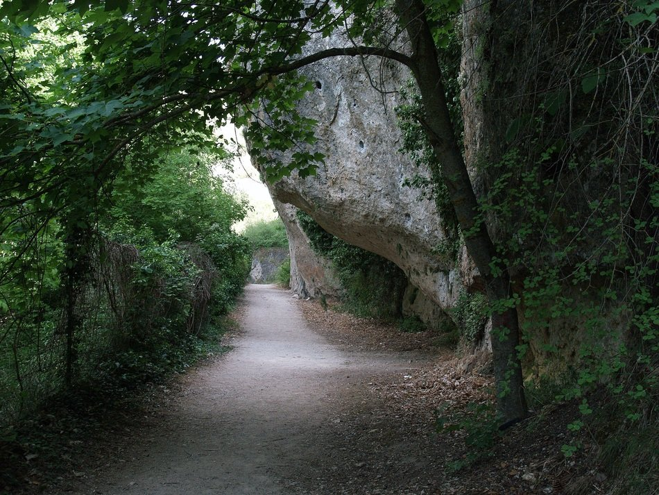 the path between the rocks and vegetation in Spain
