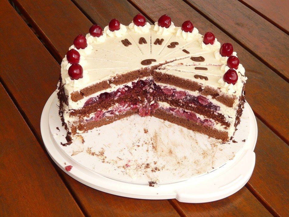black forest cake cut