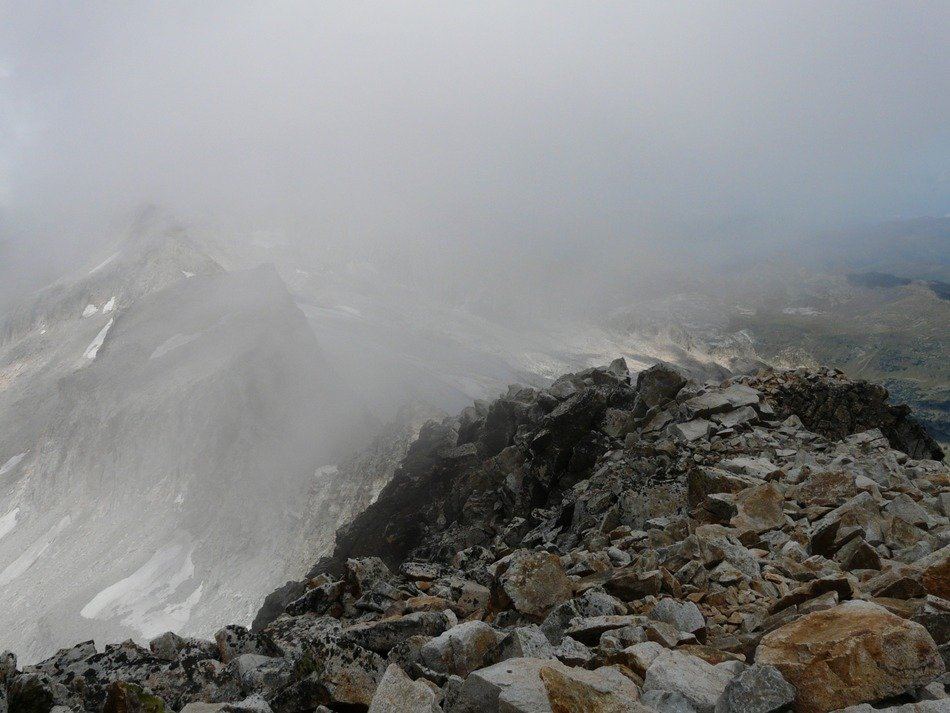view from the peak of Aneto in the fog