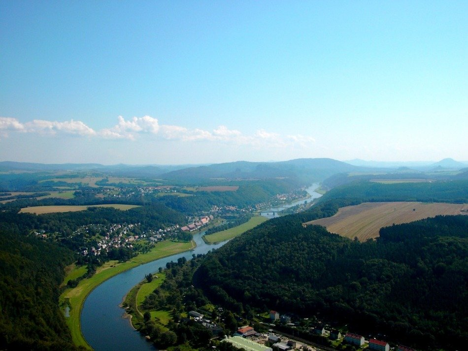 Elbe Sandstone Mountains and the Elbe River in Switzerland