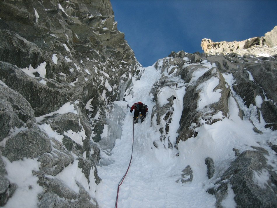 ice channel for ice climbing on the mountains