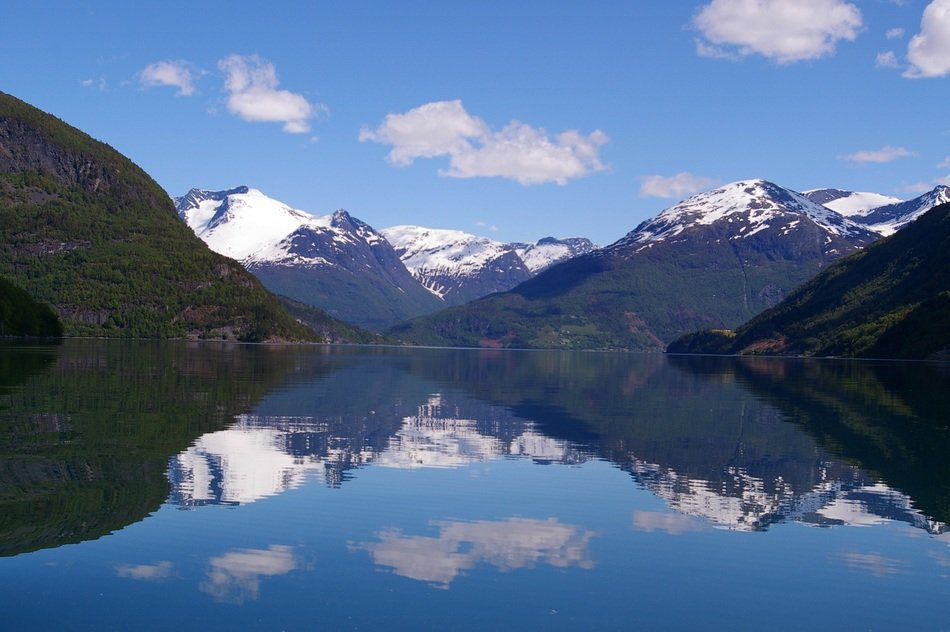 reflection in the water Fjords in Norway