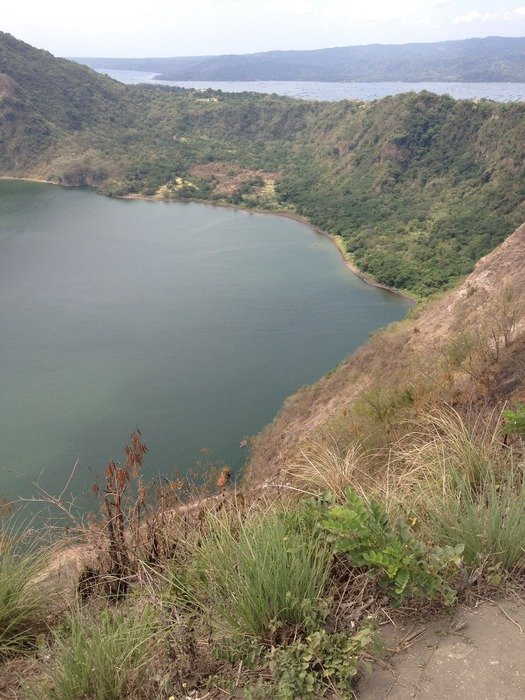 Lake in the crater of a beautiful volcano in Philippines