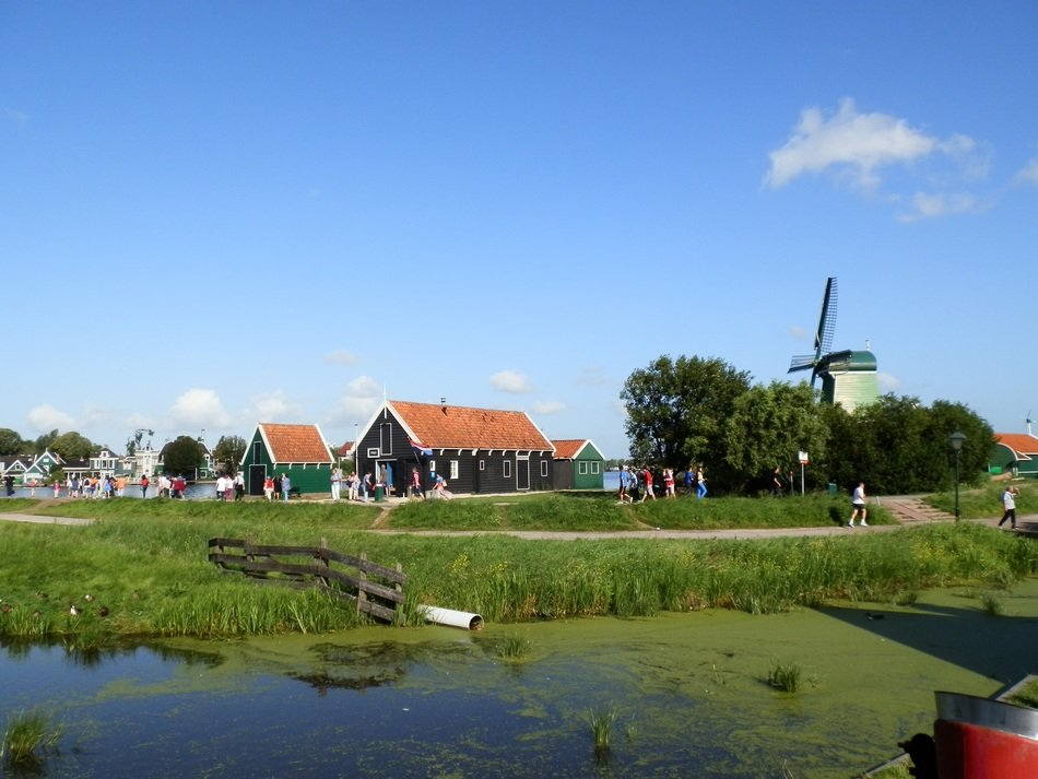 windmill in a traditional Dutch landscape