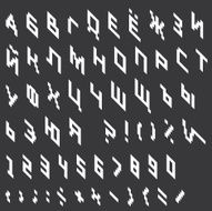Cyrillic alphabet in pixelated style