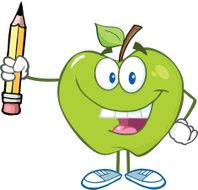 Happy Green Apple Holding Up A Pencil