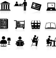 Library school and education black white vector icon set