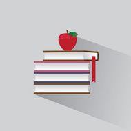 symbol stack of books and red apple