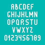 Simple colorful font Complete abc alphabet set Letters and numbers