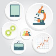 Circular icons of science and business